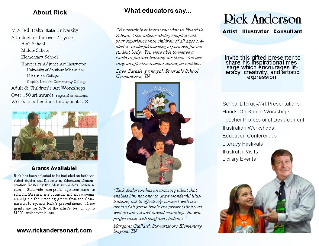 Rick anderson39s art page of free things teachers can print for their students for Teacher brochures